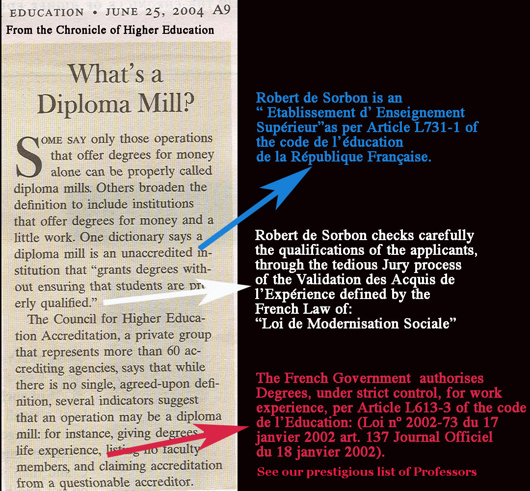 Sorbon is not a Diploma Mill
